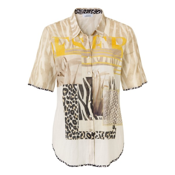 Just White Bluse mit Knopfleite und Animal-Print-Mix