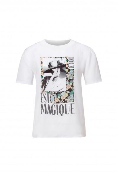 Rich & Royal T-Shirt floralem Front-Print und Glitzer