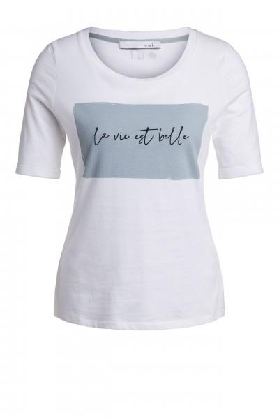 Oui Halbarm-Shirt mit Schriftzug in Mingrün