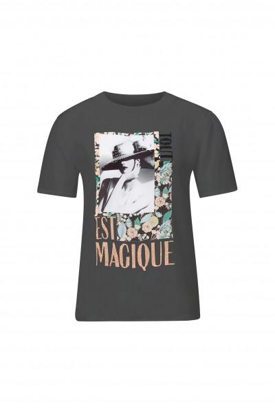 Rich & Royal T-Shirt mit floralem Front-Print und Glitzer