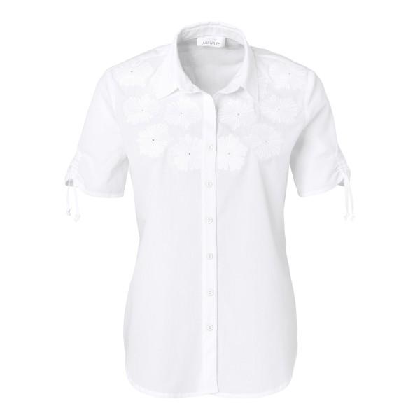 Just White Bluse mit Stick-Details