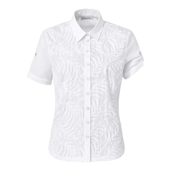 Just White Bluse mit Kurzarm und Struktur