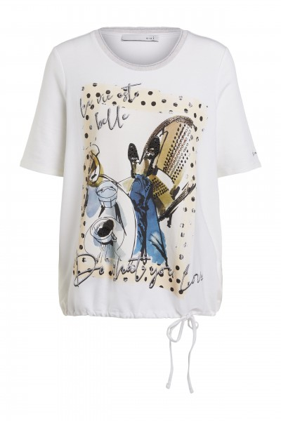 Oui T-Shirt mit Tunnelzug und Front-Print