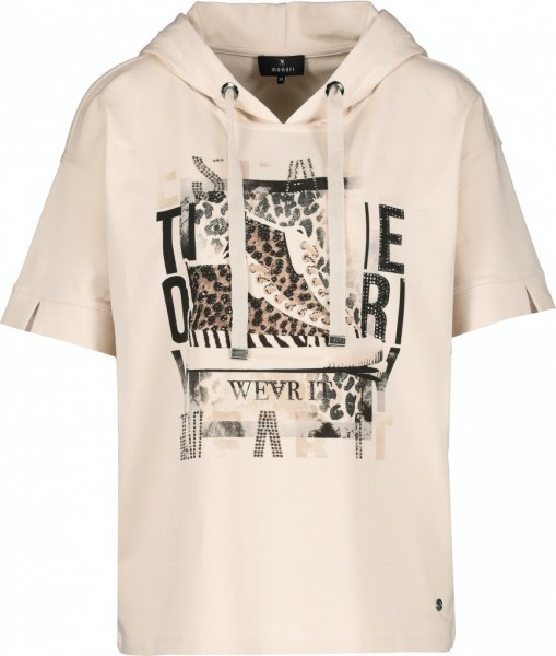 Monari T-Shirt mit Front-Print und Kapuze