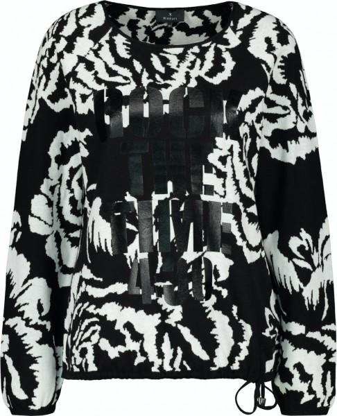 Monari Pullover mit Blumen-Muster und Lack-Druck