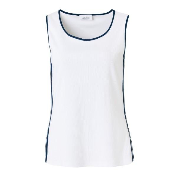 Just White Top mit Streifen-Design
