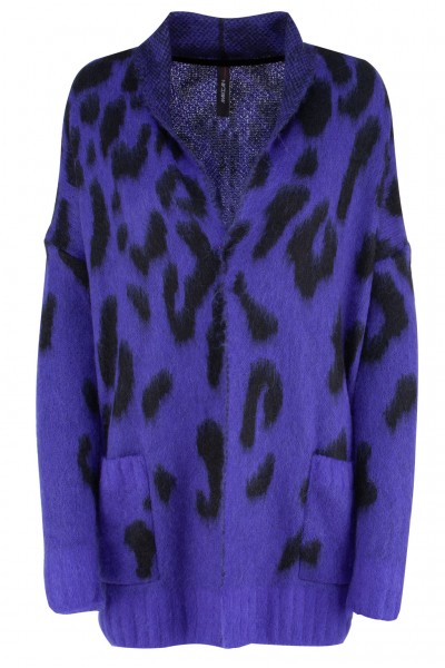 Marc Cain Collection Oversize-Strickjacke mit Leo-Muster