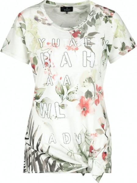 Monari T-Shirt mit Blumenmuster und Knotendetail