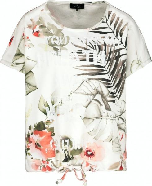 Monari T-Shirt mit Blatt- und Blütenmuster