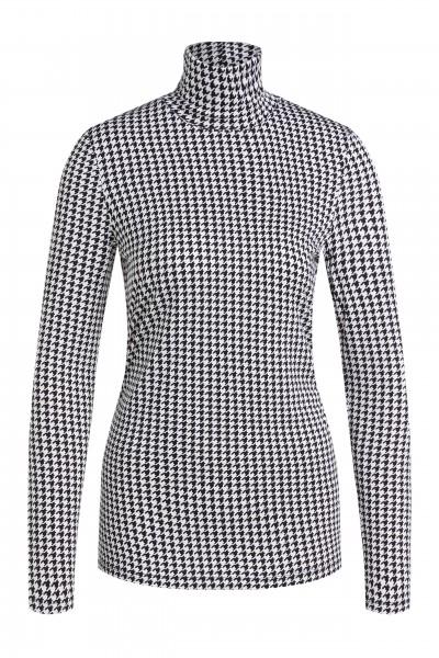 Oui Shirt mit Rollkragen und Hahnentritt-Muster