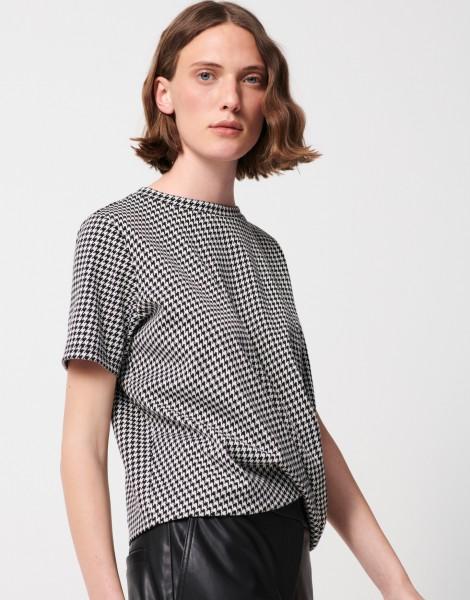 Someday T-Shirt Katonka mit Hahnentrittmuster und Knotendetail